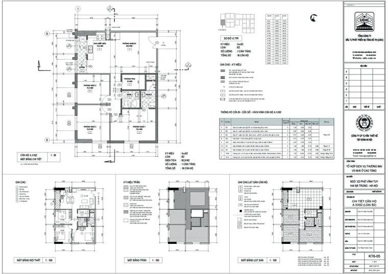 Bán căn hộ chung cư 122 Vĩnh Tuy, Căn A2 - Diện tích 93,19m2