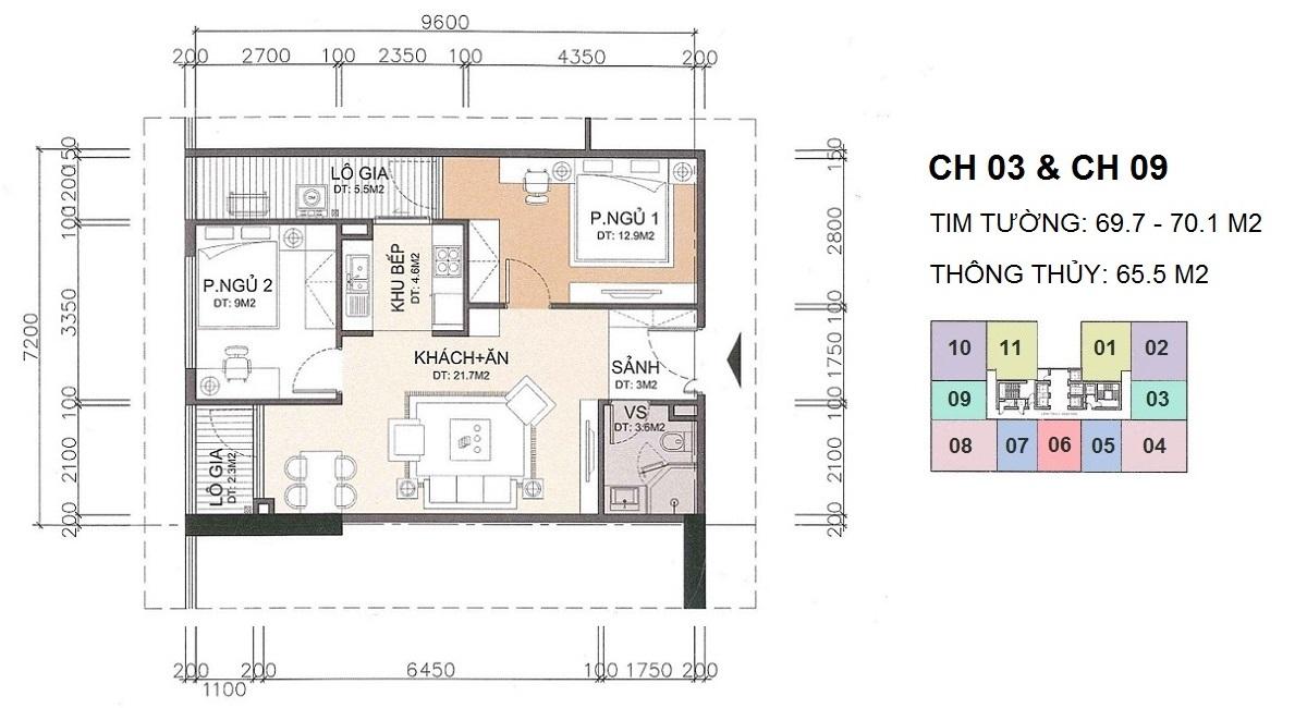 Căn hộ 2 phòng ngủ chung cư A10 Nam Trung Yên