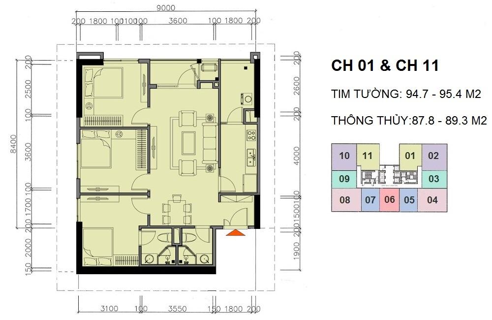 Căn hộ 3 phòng ngủ chung cư A10 Nam Trung Yên