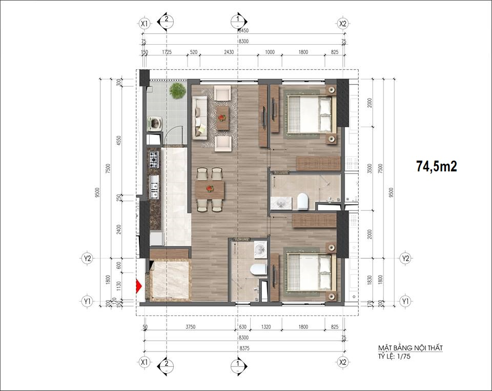 Căn hộ loại 74.5m2, chung cư HH 43 Phạm Văn Đồng