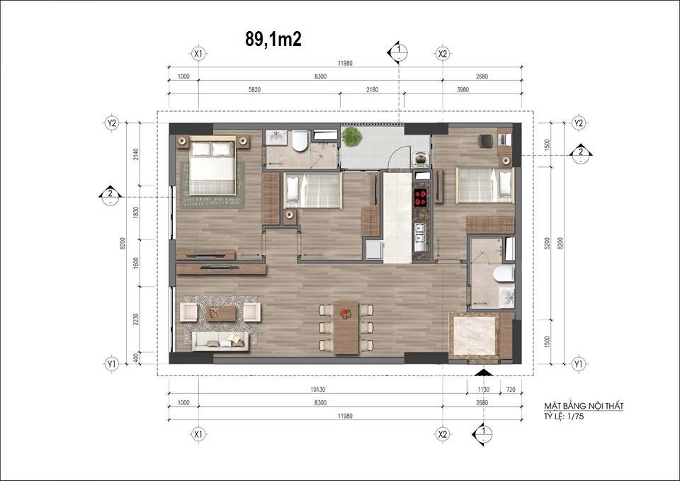 Căn hộ loại 89.1m2, chung cư HH 43 Phạm Văn Đồng