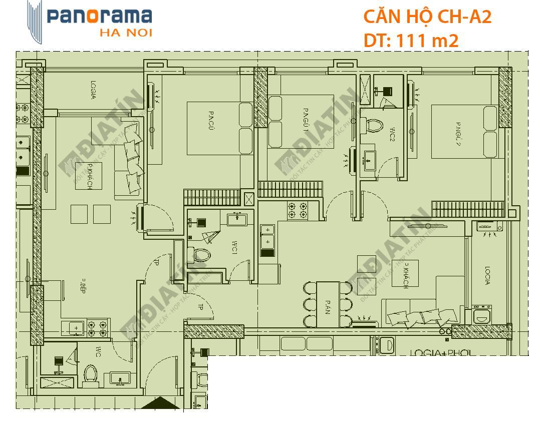 Thiết kế căn hộ CH-A2 tòa CT1B dự án Panorama Hoàng Mai