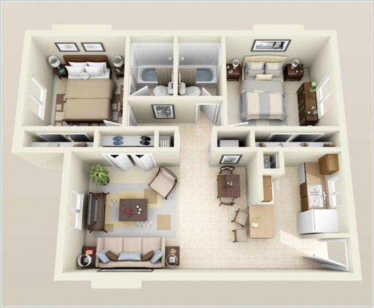 Hình ảnh 3D căn hộ 2 phòng ngủ Panorama Hoàng Văn Thụ