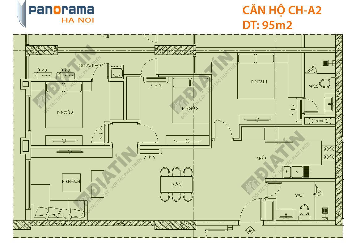 Thiết kế căn hộ CH-A2 tòa CT1A chung cư Panorama