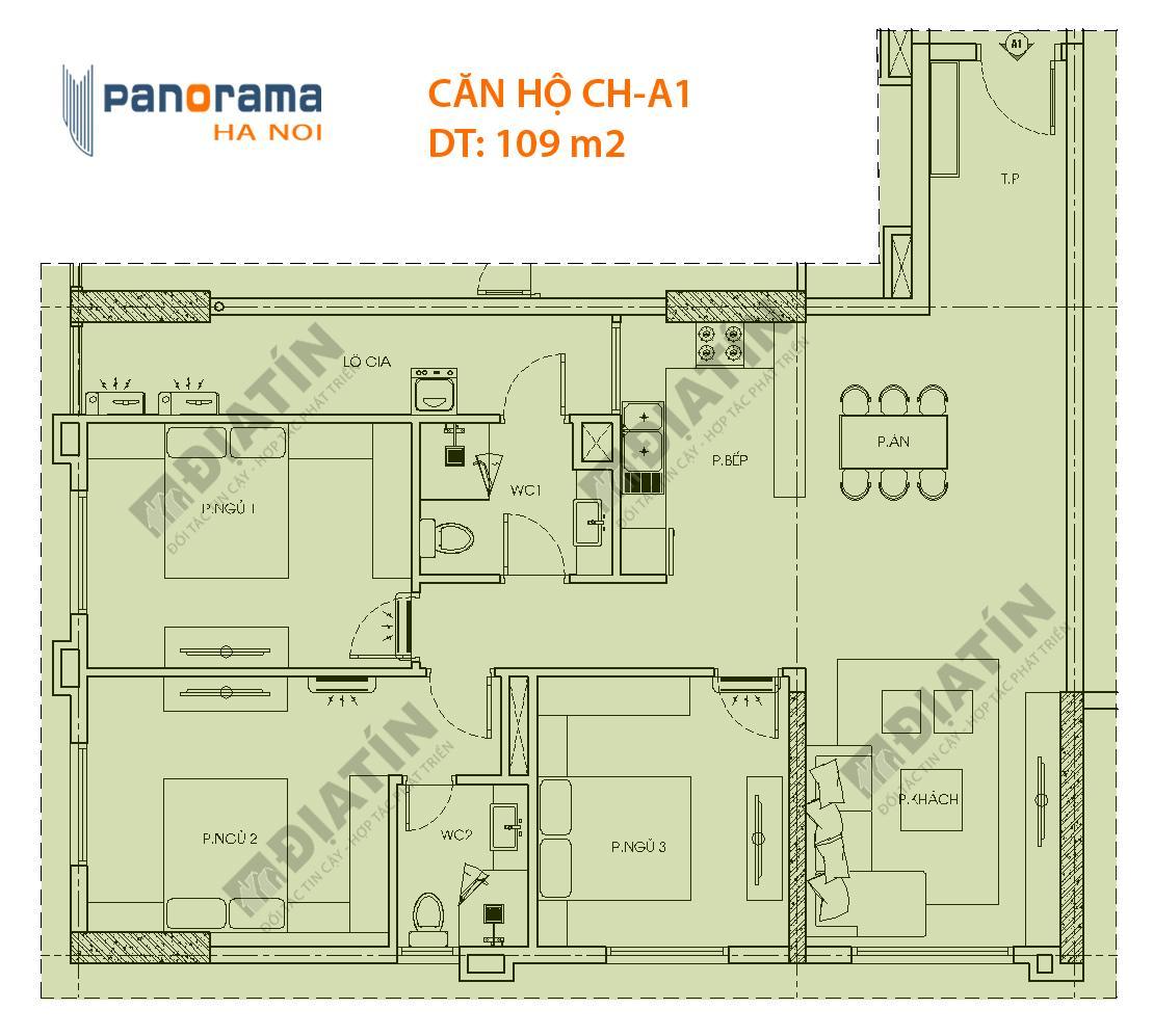 Thiết kế căn hộ CH-A1 tòa CT1A chung cư Panorama