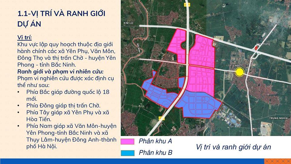 Vị trí dự án khu đô thị và dịch vụ phía Tây thị trấn Chờ