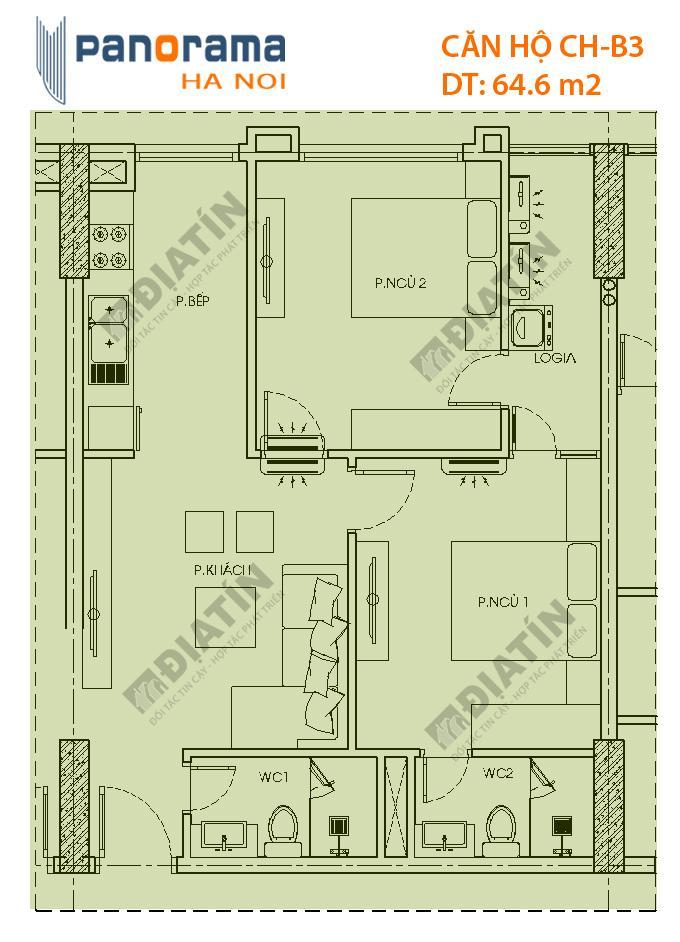 Thiết kế căn hộ CH-B3 tòa CT1B dự án Panorama Hoàng Mai