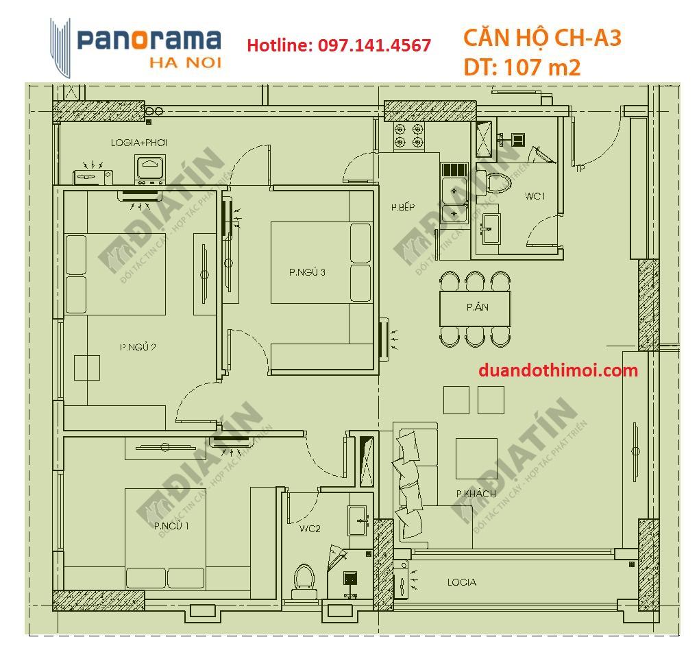 Căn hộ CH-A3 tòa CT1B chung cư Panorama Hoàng Văn Thụ