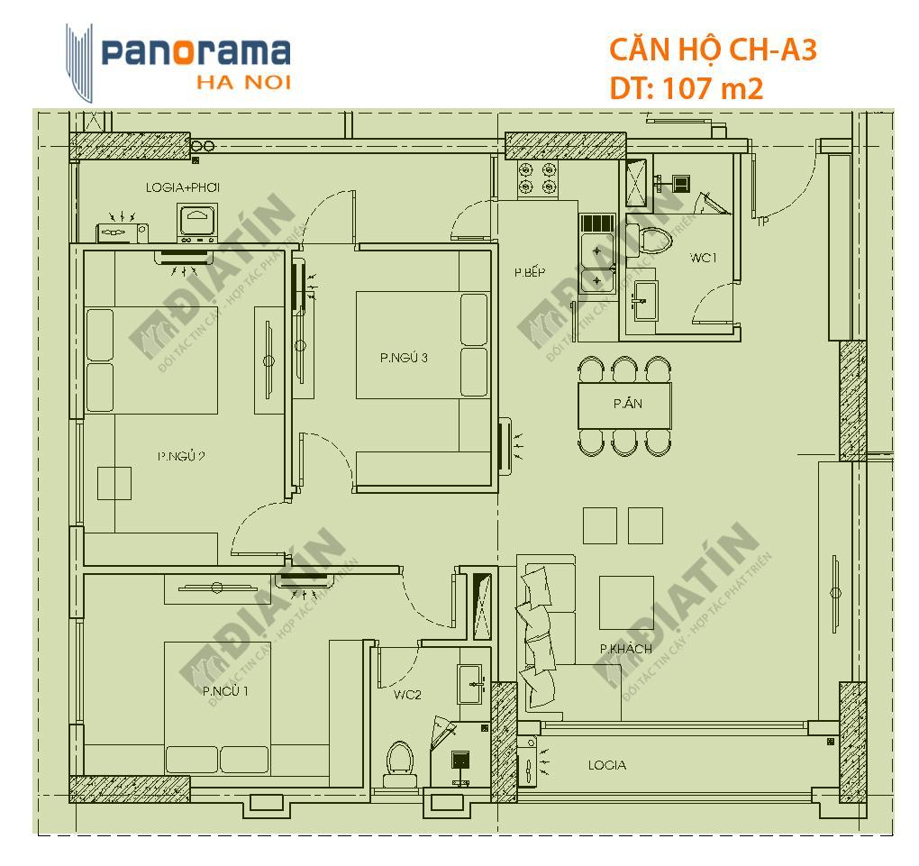 Thiết kế căn hộ CH-A3 tòa CT1B dự án Panorama Hoàng Mai
