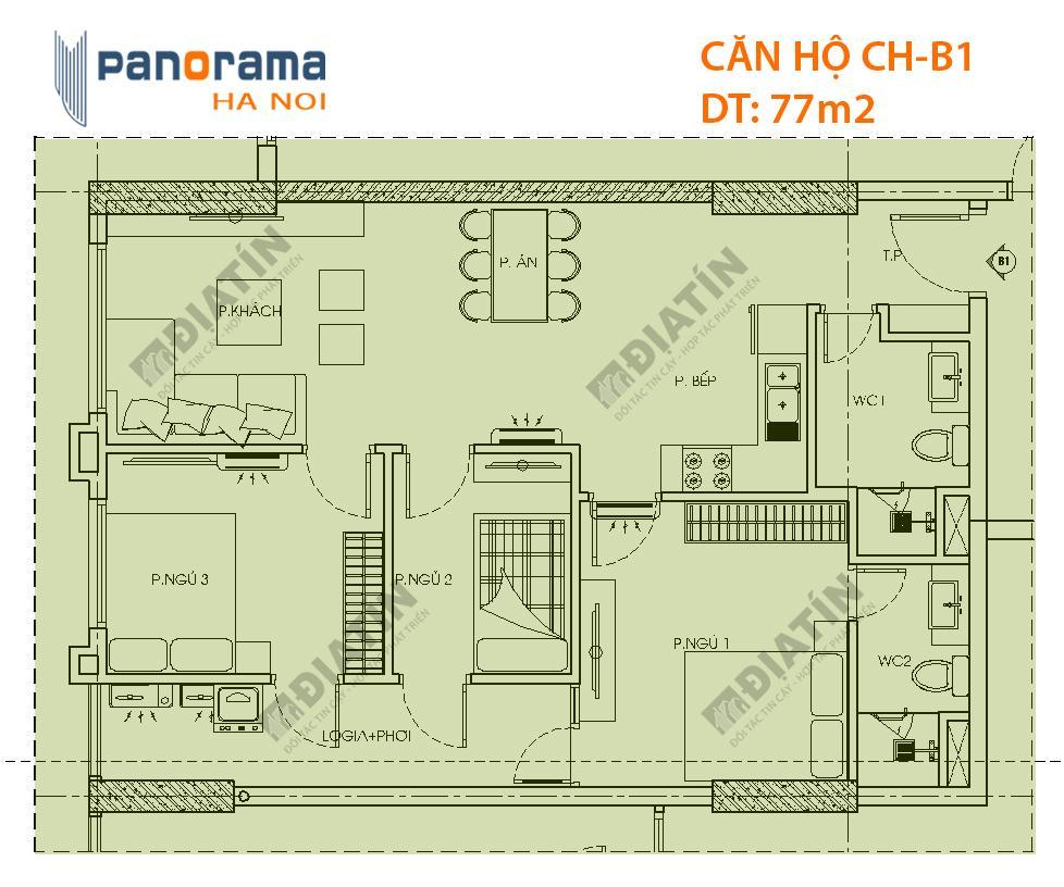 Thiết kế căn hộ CH-B1 tòa CT1A chung cư Panorama Hồ Đền Lừ