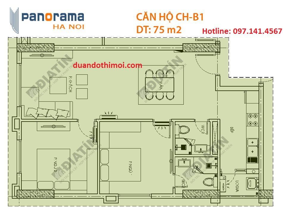 Căn 2 phòng ngủ Panorama Hoàng Văn Thụ : Căn CH-B1 Tòa CT1B