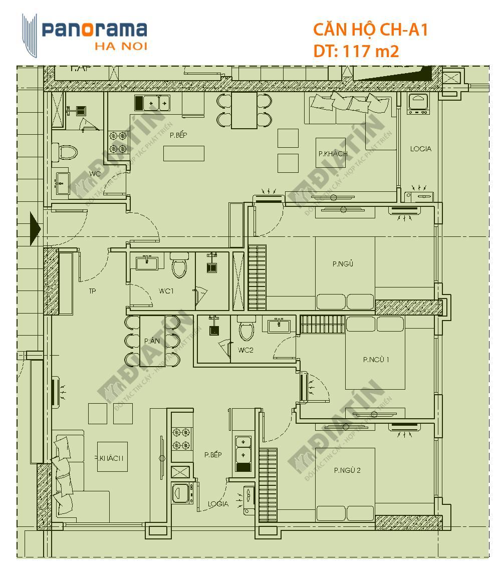 Thiết kế căn hộ CH-A1 tòa CT1B dự án Panorama Hoàng Mai