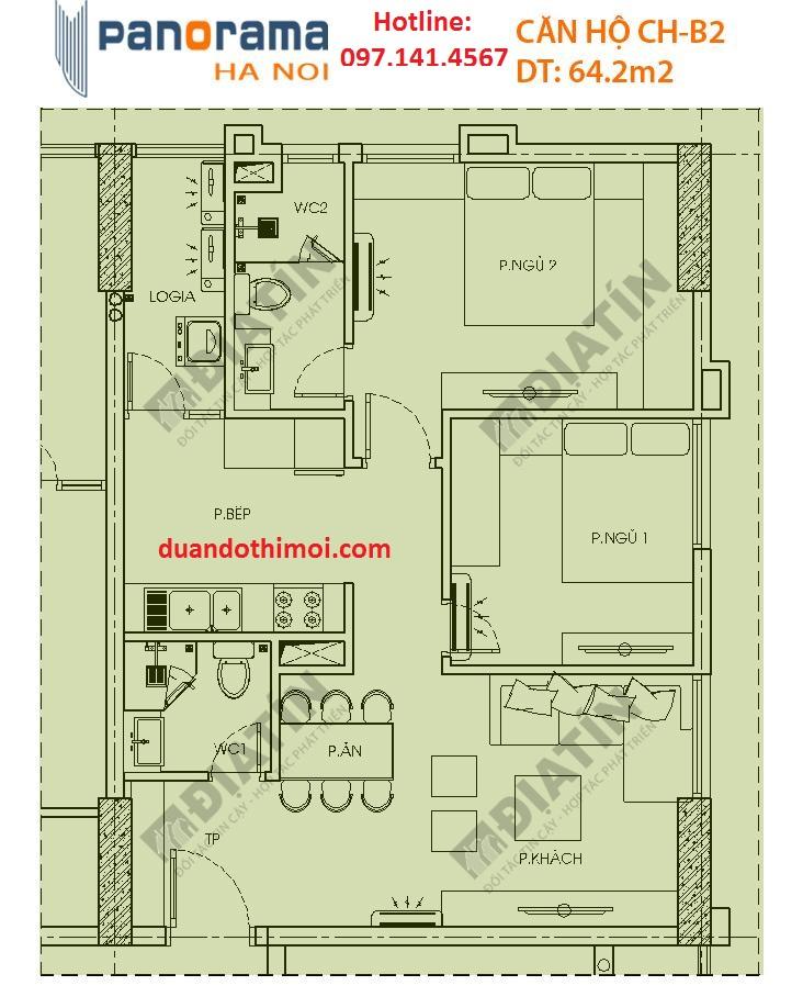 Căn 2 phòng ngủ Panorama Hoàng Văn Thụ : Căn CH-B2 Tòa CT1B
