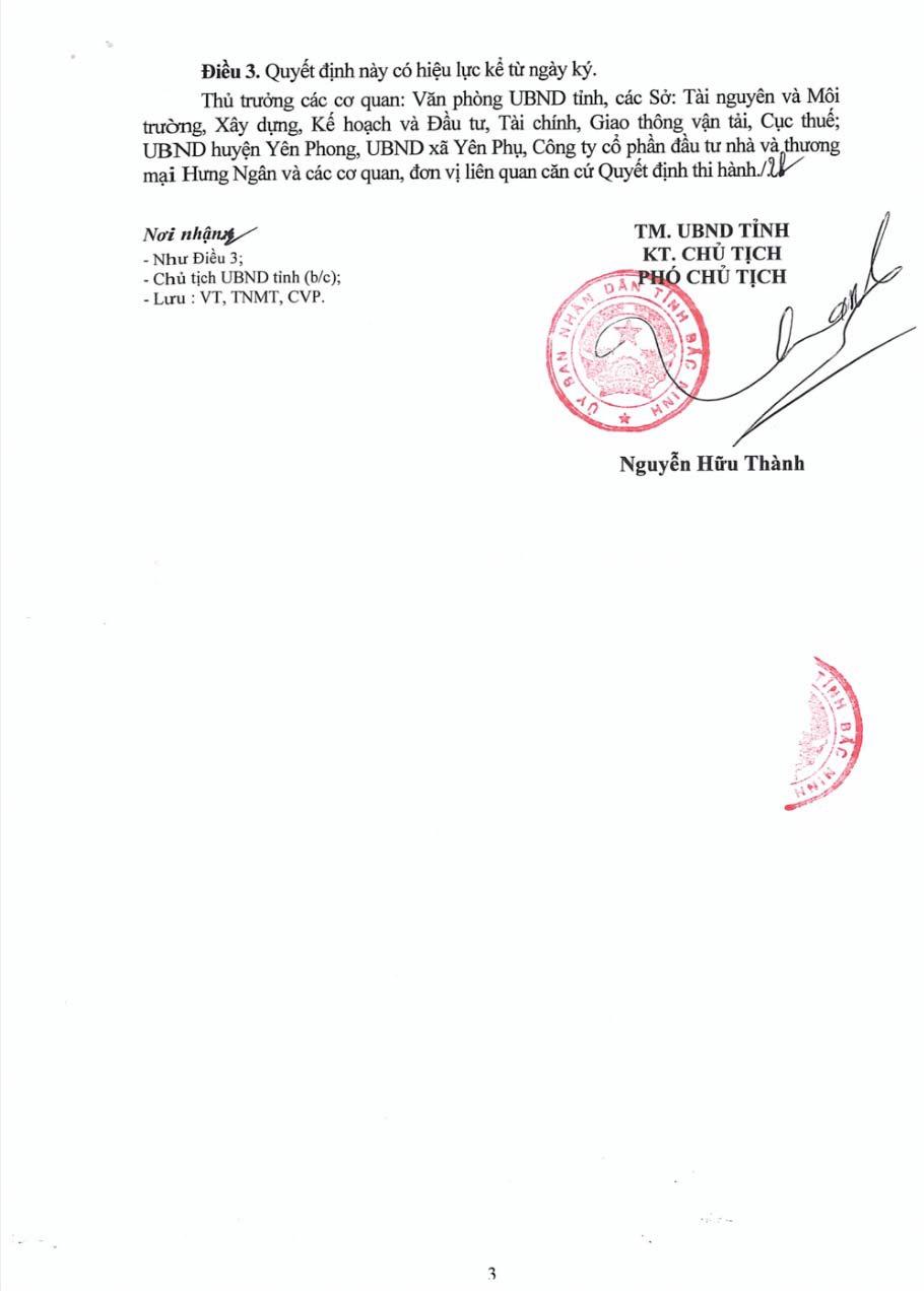 Quyết định giao đất dự án Kim Đô