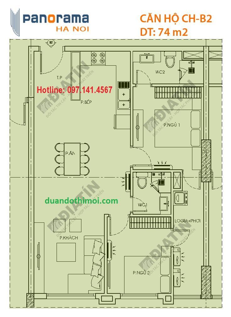 căn hộ 2 phòng ngủ CH-B2: DT 74 m2