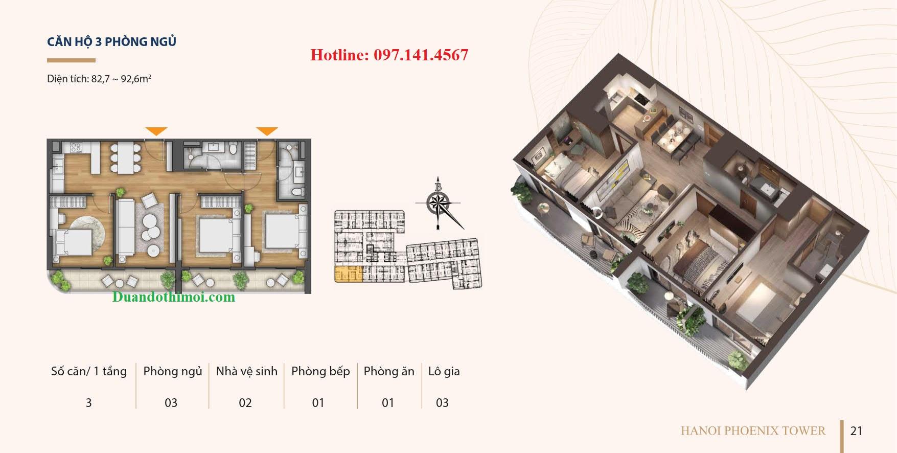 Căn hộ 3 phòng ngủ dự án Hà Nội Phoenix Tower