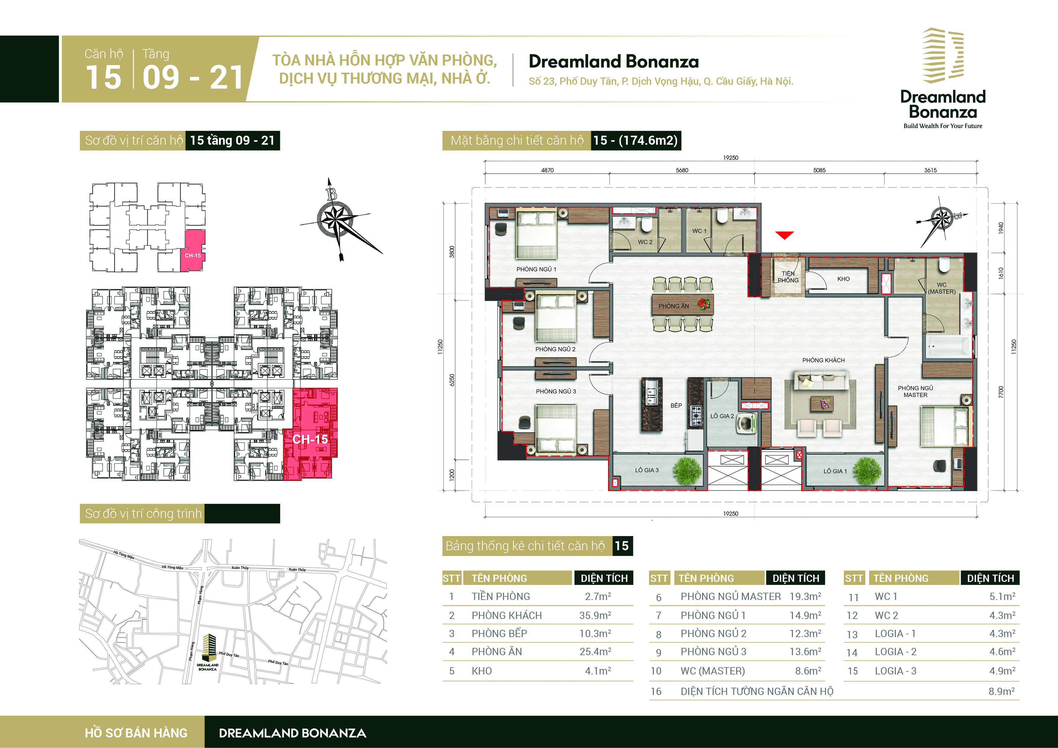 Mặt bằng căn hộ số 15 chung cư DreamLand Bonanza