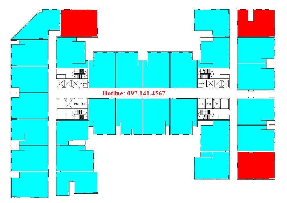 Sơ đồ bố trí căn hộ 3 phòng ngủ dự án Rice City Long Biên
