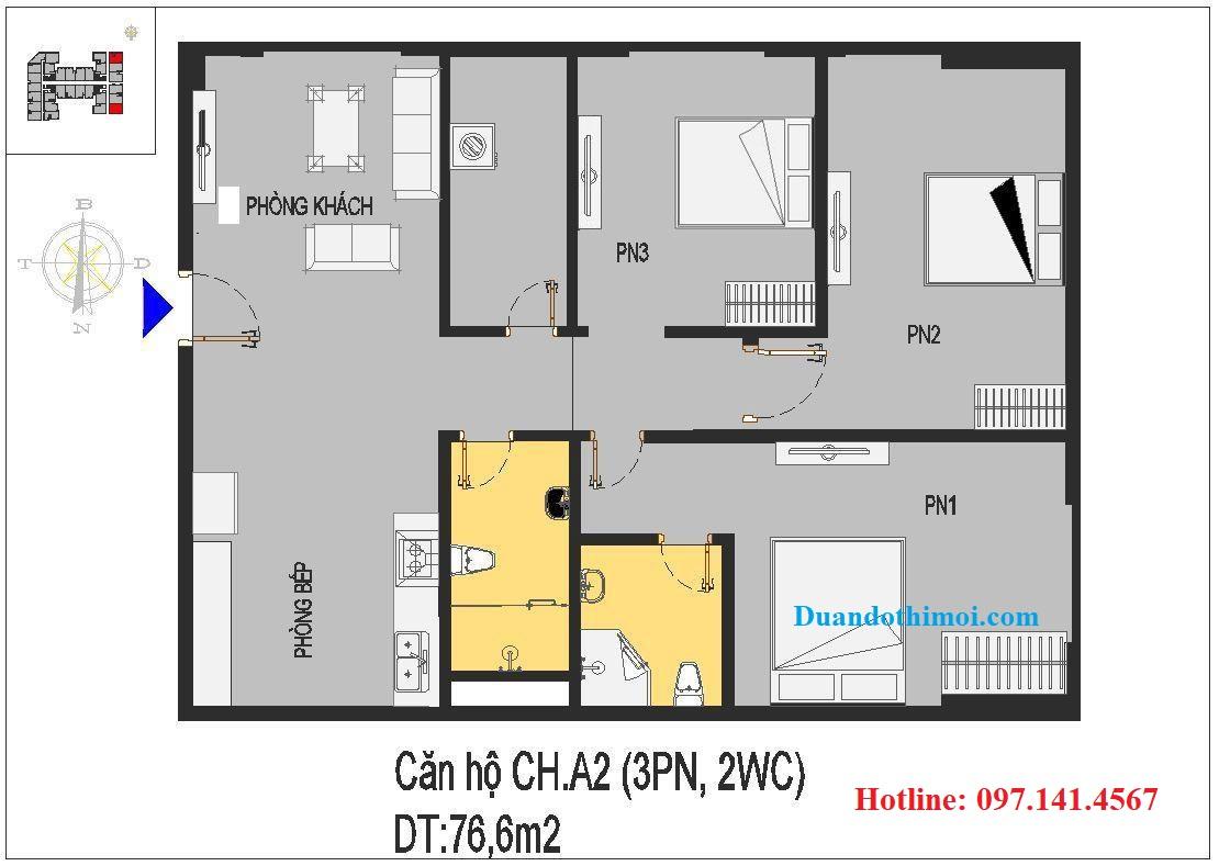 Căn 3 phòng ngủ CH.A2 chung cư Rice City Long Biên