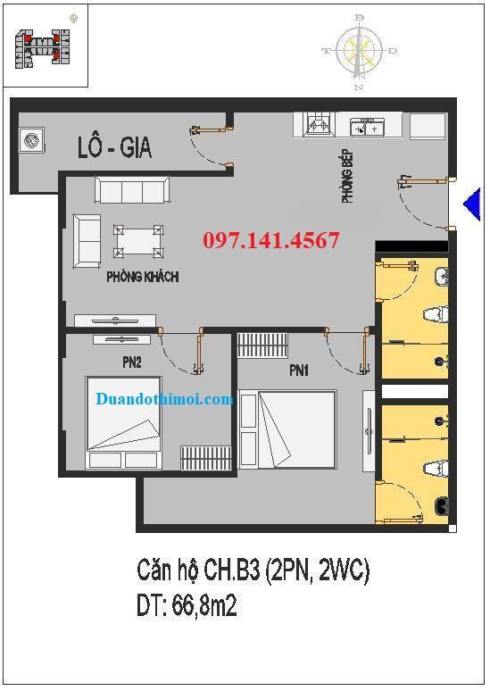 Thiết kế căn hộ CH.B3 chung cư Rice City Thượng Thanh
