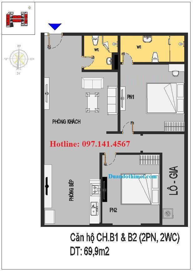 Căn hộ 2 phòng ngủ CH.B1 & B2 chung cư Rice City Long Biên