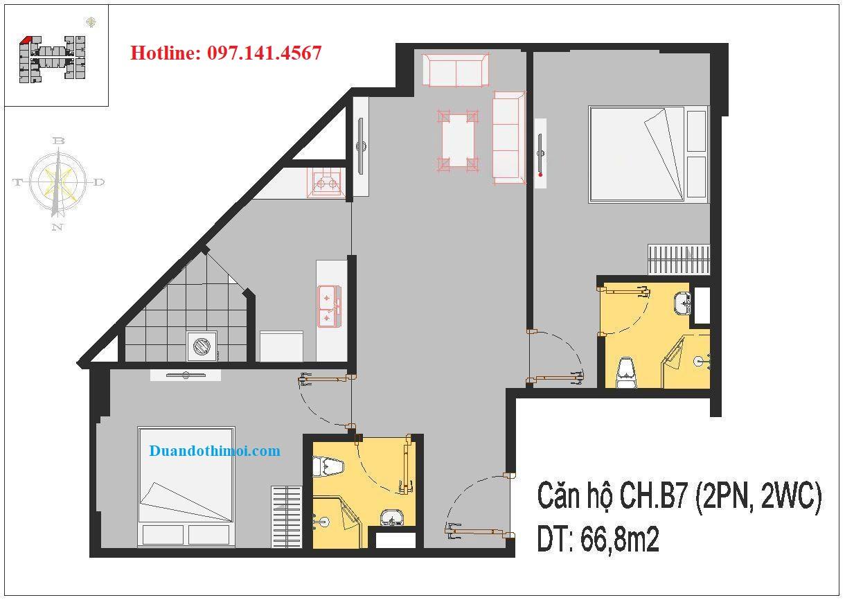 Thiết kế căn hộ CH.B7 chung cư Rice City Thượng Thanh