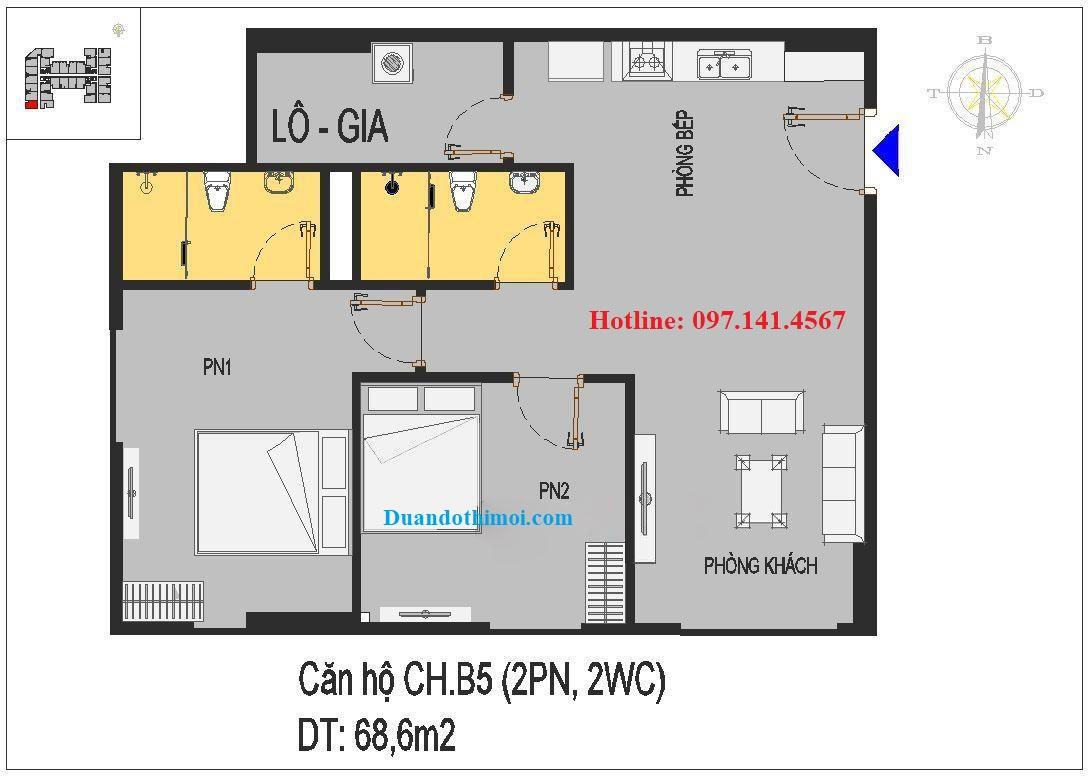 Thiết kế căn hộ CH.B5 chung cư Rice City Long Biên