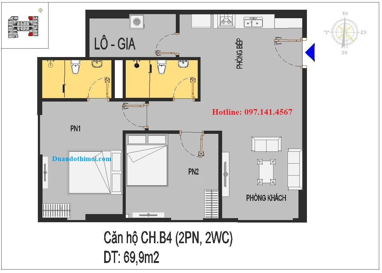Thiết kế căn hộ CH.B4 nhà ở xã hội Rice City Long Biên