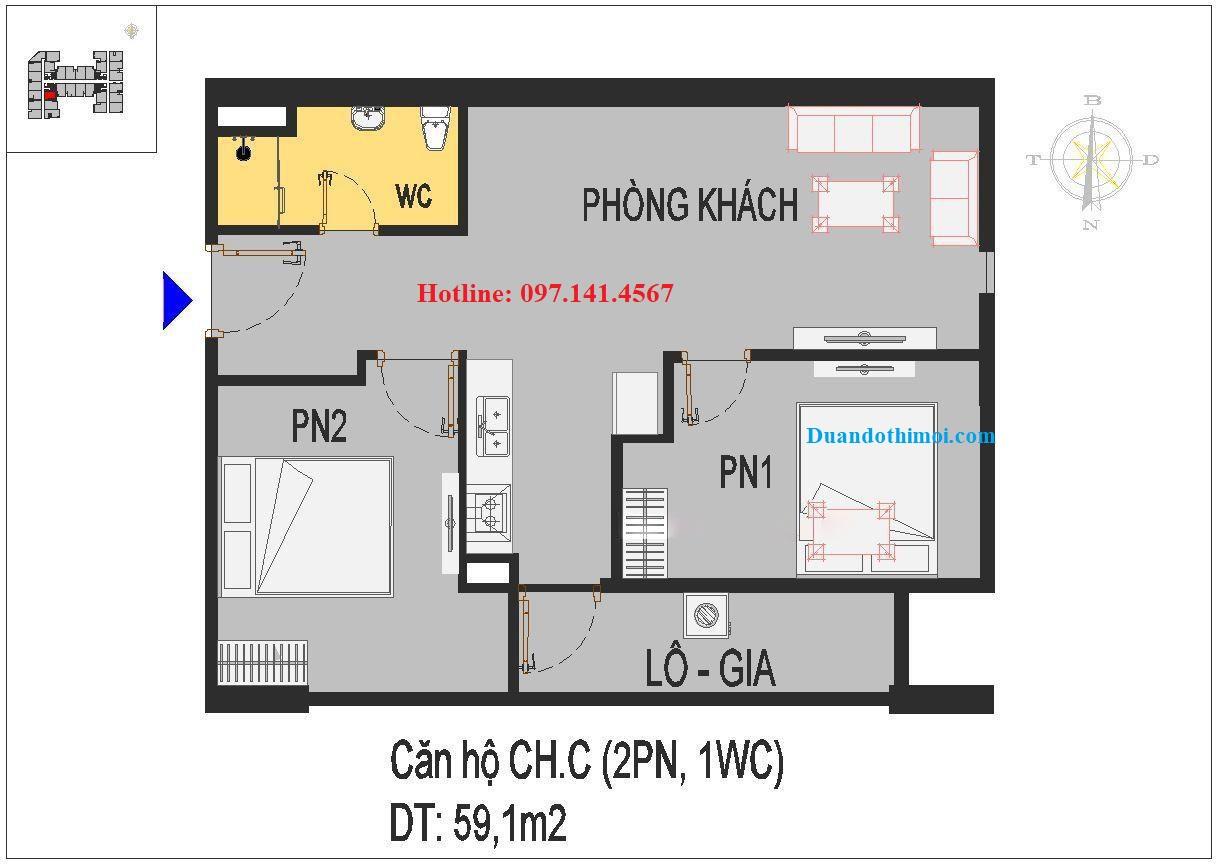 Căn hộ 2 phòng ngủ CH.C chung cư Rice City Long Biên