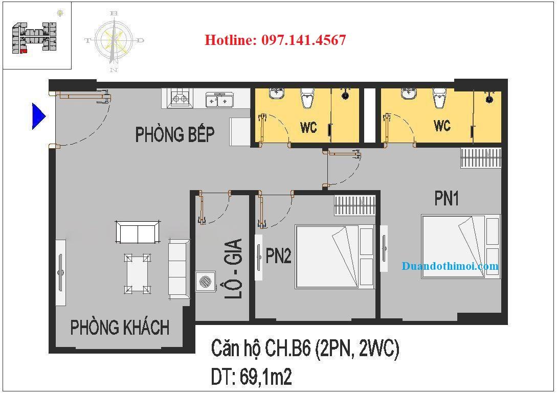 Thiết kế căn hộ 2 ngủ CH.B6 chung cư Rice City Thượng Thanh