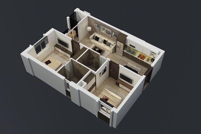 Hình ảnh 3D thiết kế căn hộ Rice City Long Biên